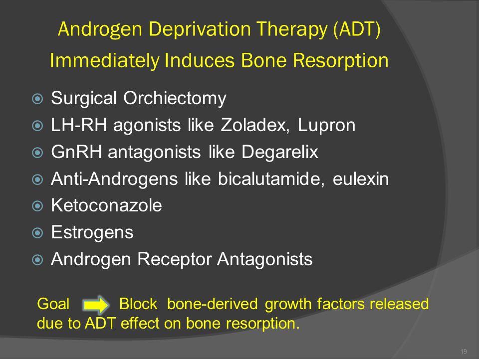 Androgen Deprivation Therapy (ADT) Immediately Induces Bone Resorption  Surgical Orchiectomy  LH-RH agonists like Zoladex, Lupron  GnRH antagonists like Degarelix  Anti-Androgens like bicalutamide, eulexin  Ketoconazole  Estrogens  Androgen Receptor Antagonists Goal Block bone-derived growth factors released due to ADT effect on bone resorption.