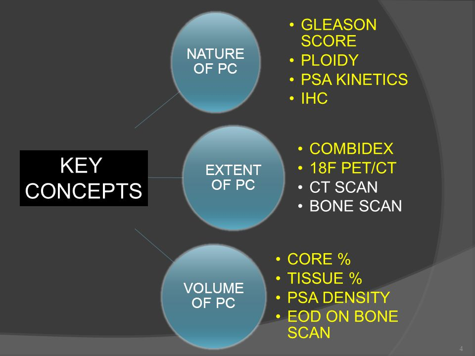 NATURE OF PC GLEASON SCORE PLOIDY PSA KINETICS IHC EXTENT OF PC COMBIDEX 18F PET/CT CT SCAN BONE SCAN VOLUME OF PC CORE % TISSUE % PSA DENSITY EOD ON BONE SCAN KEY CONCEPTS 4