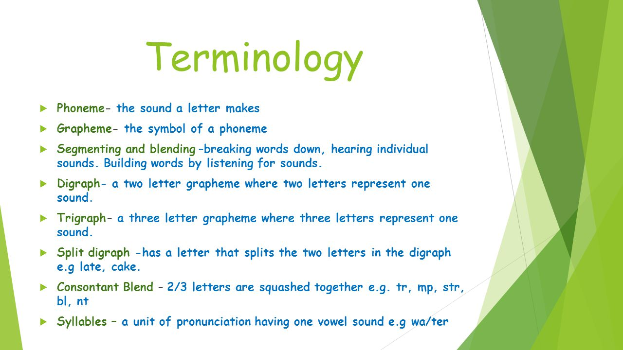 Terminology  Phoneme- the sound a letter makes  Grapheme- the symbol of a phoneme  Segmenting and blending –breaking words down, hearing individual