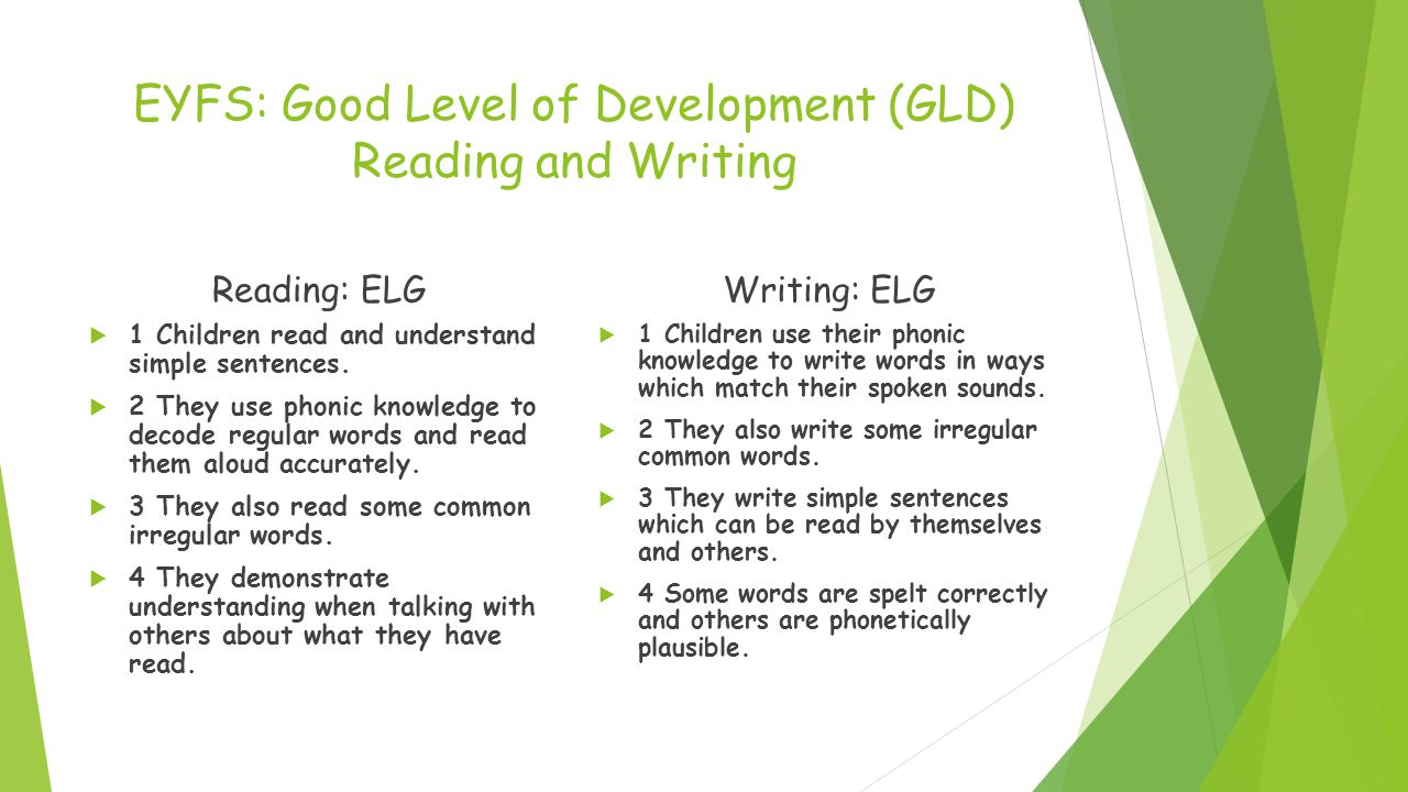 EYFS: Good Level of Development (GLD) Reading and Writing Reading: ELG  1 Children read and understand simple sentences.  2 They use phonic knowledg