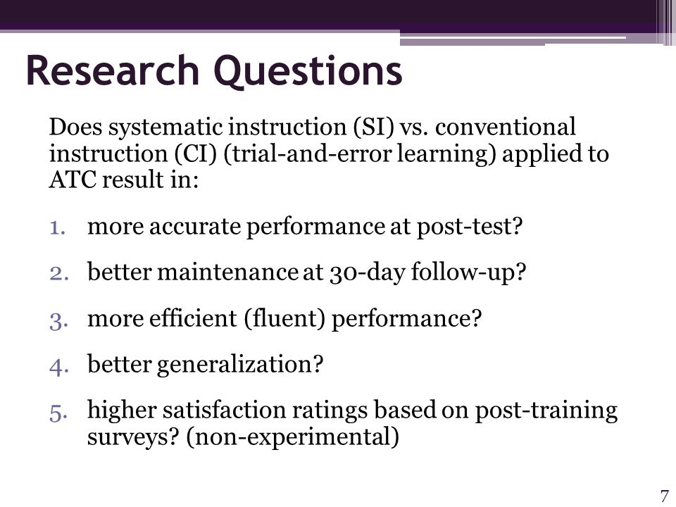 Results Questions 4 & 5 4) Generalization: Significant differences for items taught across environments; in favor of SI (post-test only) p=.048; ES =.