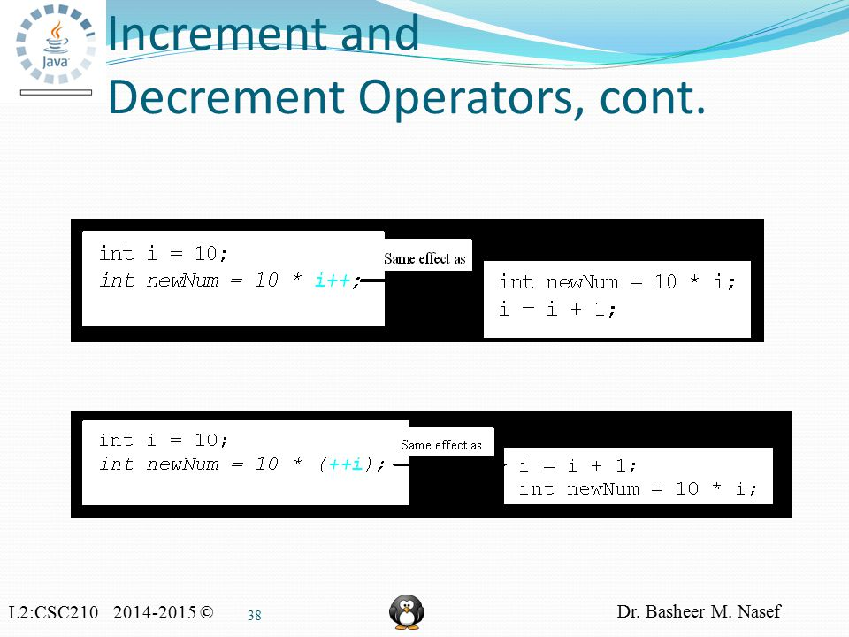 L2:CSC210 2014-2015 © Dr. Basheer M. Nasef 38 Increment and Decrement Operators, cont.