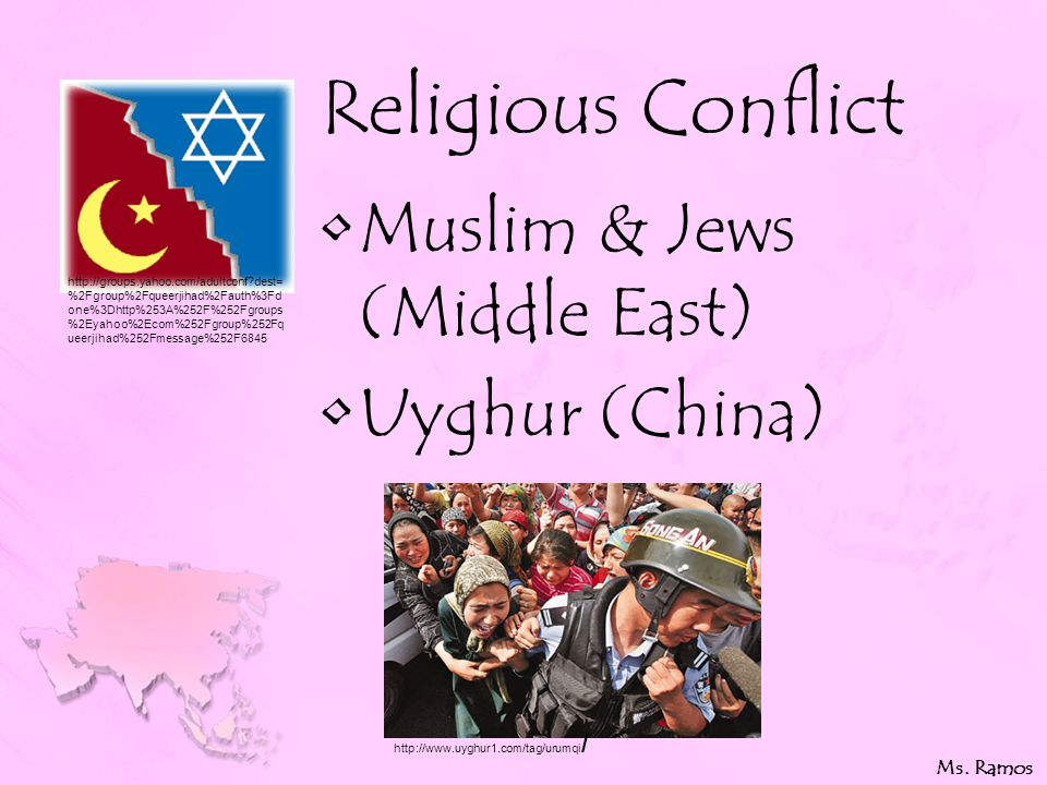 Religious Conflict Muslim & Jews (Middle East) Uyghur (China) Ms.