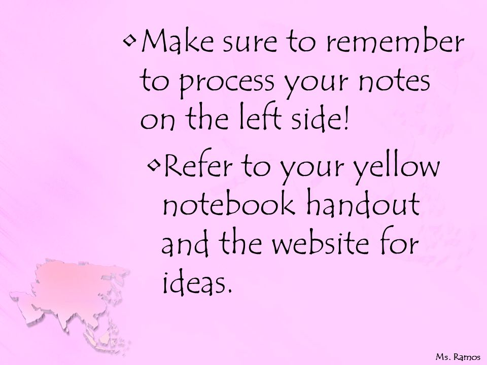 Make sure to remember to process your notes on the left side.
