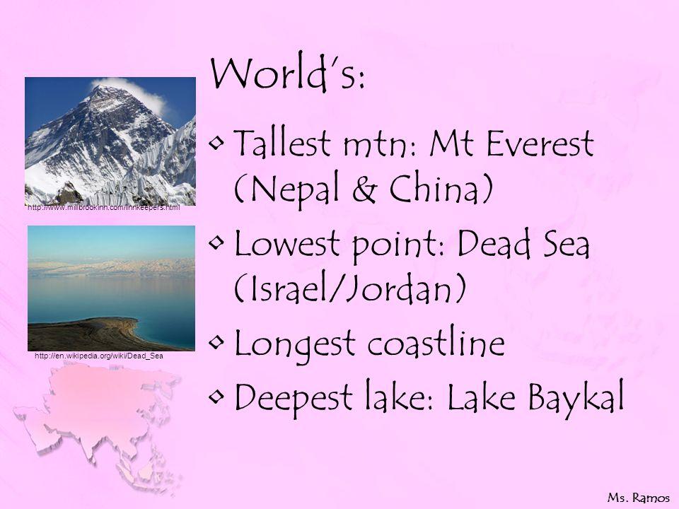 World's: Tallest mtn: Mt Everest (Nepal & China) Lowest point: Dead Sea (Israel/Jordan) Longest coastline Deepest lake: Lake Baykal Ms.