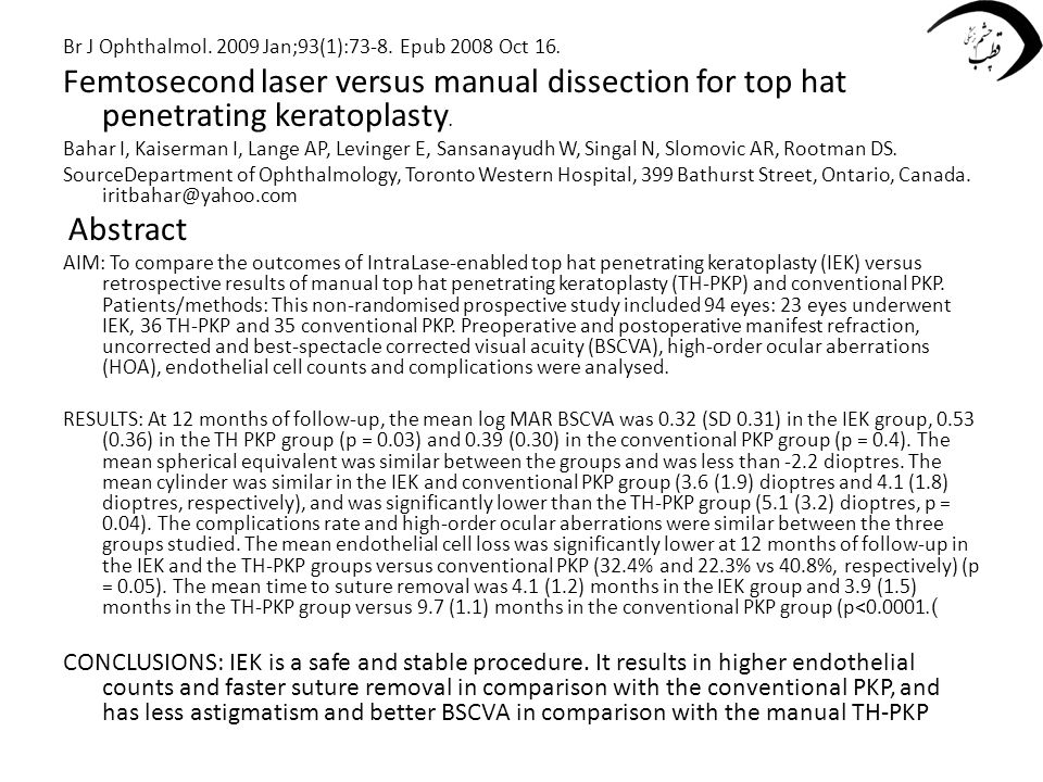 Br J Ophthalmol. 2009 Jan;93(1):73-8. Epub 2008 Oct 16. Femtosecond laser versus manual dissection for top hat penetrating keratoplasty. Bahar I, Kais