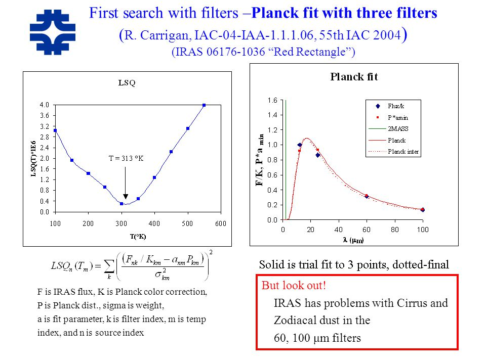 "First search with filters –Planck fit with three filters ( R. Carrigan, IAC-04-IAA-1.1.1.06, 55th IAC 2004 ) (IRAS 06176-1036 ""Red Rectangle"") F is IR"