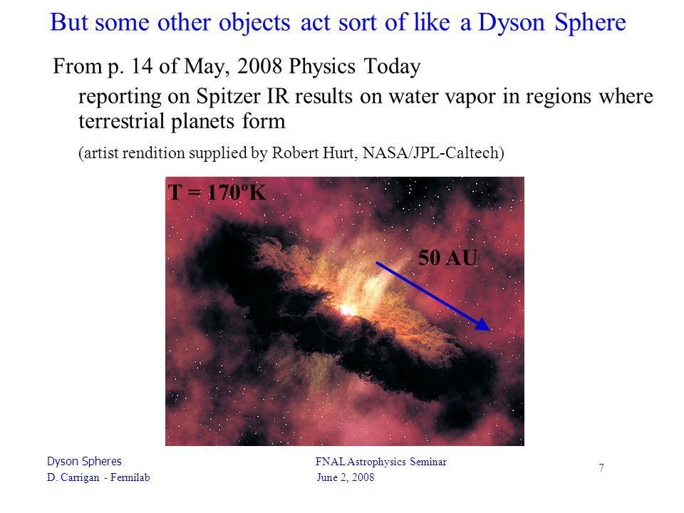 Dyson Spheres FNAL Astrophysics Seminar D. Carrigan - Fermilab June 2, 2008 7 But some other objects act sort of like a Dyson Sphere From p. 14 of May