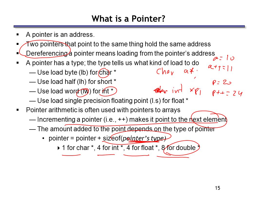 15 What is a Pointer?  A pointer is an address.  Two pointers that point to the same thing hold the same address  Dereferencing a pointer means loa