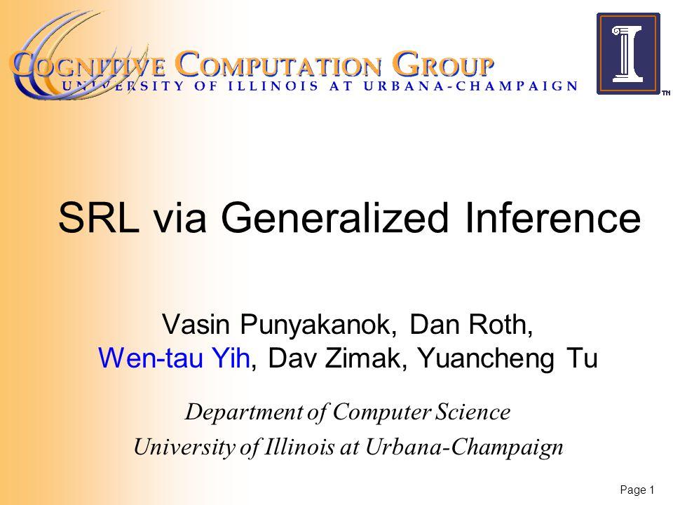 Page 1 SRL via Generalized Inference Vasin Punyakanok, Dan Roth, Wen-tau Yih, Dav Zimak, Yuancheng Tu Department of Computer Science University of Illinois at Urbana-Champaign