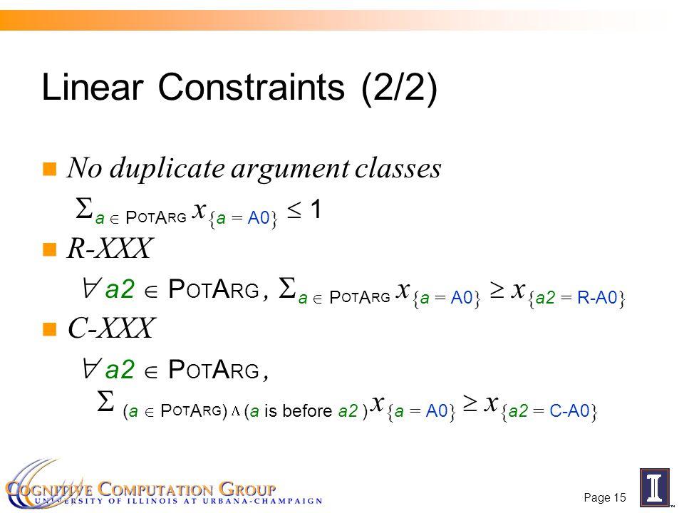 Page 15 No duplicate argument classes  a  P OT A RG x { a = A0 }  1 R-XXX  a2  P OT A RG,  a  P OT A RG x { a = A0 }  x { a2 = R-A0 } C-XXX  a2  P OT A RG,  (a  P OT A RG )  (a is before a2 ) x { a = A0 }  x { a2 = C-A0 } Linear Constraints (2/2)