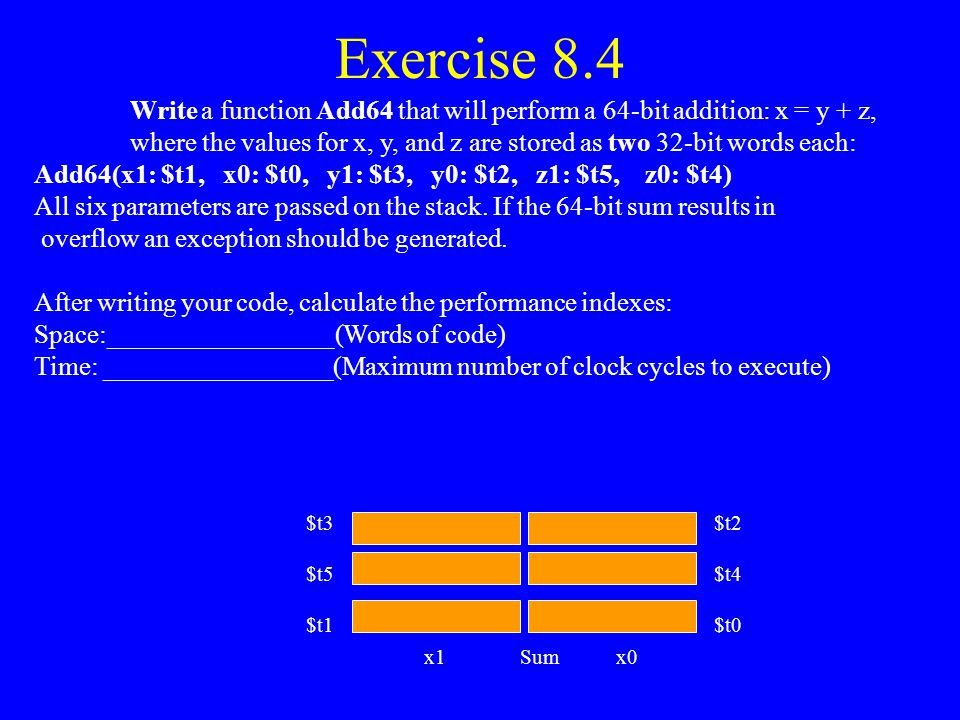 Exercise 8.3 (Assembly Language) Adduovf ( x, y, s) LabelOp-Code Dest. S1, S2Comments Adduovf: lw$t3, 0($sp)# Get x lw$t4, 4($sp)# Get y addu$t5, $t4,