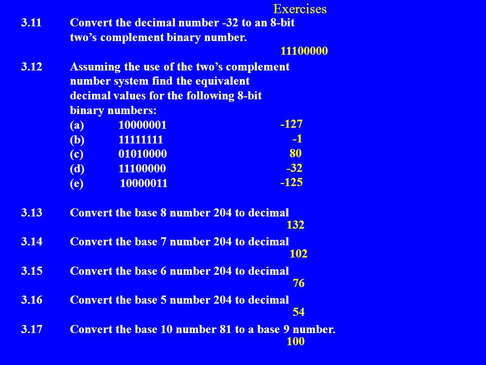 Exercises 3.1Convert the decimal number 35 to an 8-bit binary number. 3.2Convert the decimal number 32 to an 8-bit binary number. 3.3Using the double