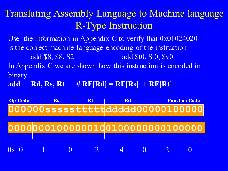 Translating Assembly Language to Machine language Use the information in Appendix C to verify that 0x3402000A is the correct machine language encoding
