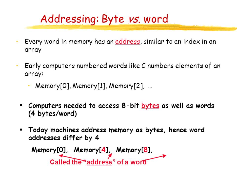 Addressing: Byte vs. word Every word in memory has an address, similar to an index in an array Early computers numbered words like C numbers elements