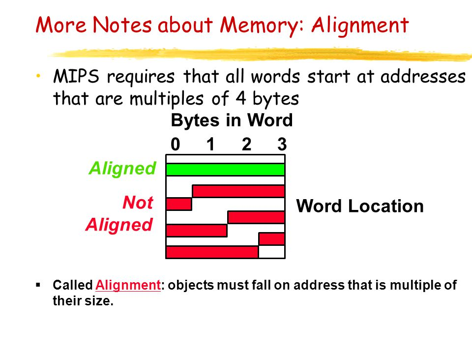 More Notes about Memory: Alignment MIPS requires that all words start at addresses that are multiples of 4 bytes  Called Alignment: objects must fall