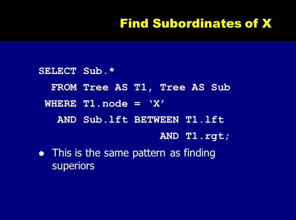 Find Subordinates of X SELECT Sub.* FROM Tree AS T1, Tree AS Sub WHERE T1.node = 'X' AND Sub.lft BETWEEN T1.lft AND T1.rgt; This is the same pattern a