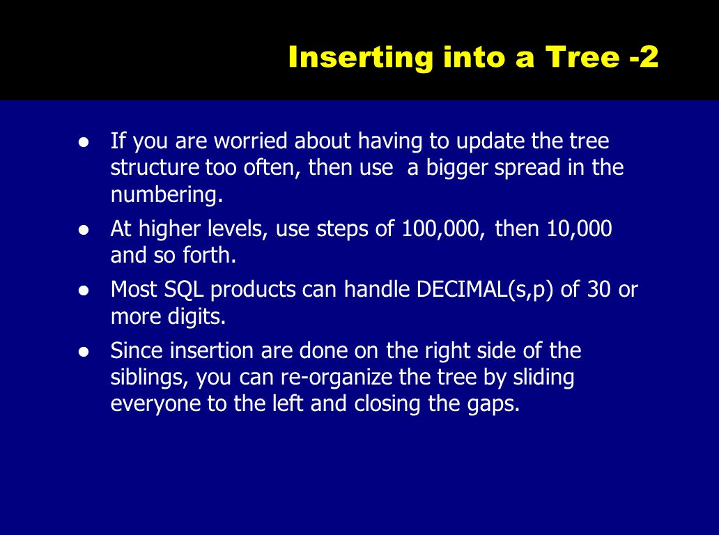 Inserting into a Tree -2 If you are worried about having to update the tree structure too often, then use a bigger spread in the numbering. At higher