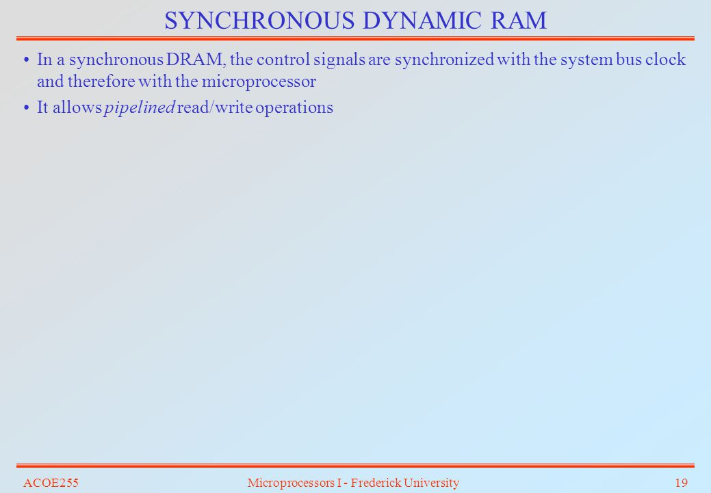 ACOE255Microprocessors I - Frederick University19 SYNCHRONOUS DYNAMIC RAM In a synchronous DRAM, the control signals are synchronized with the system