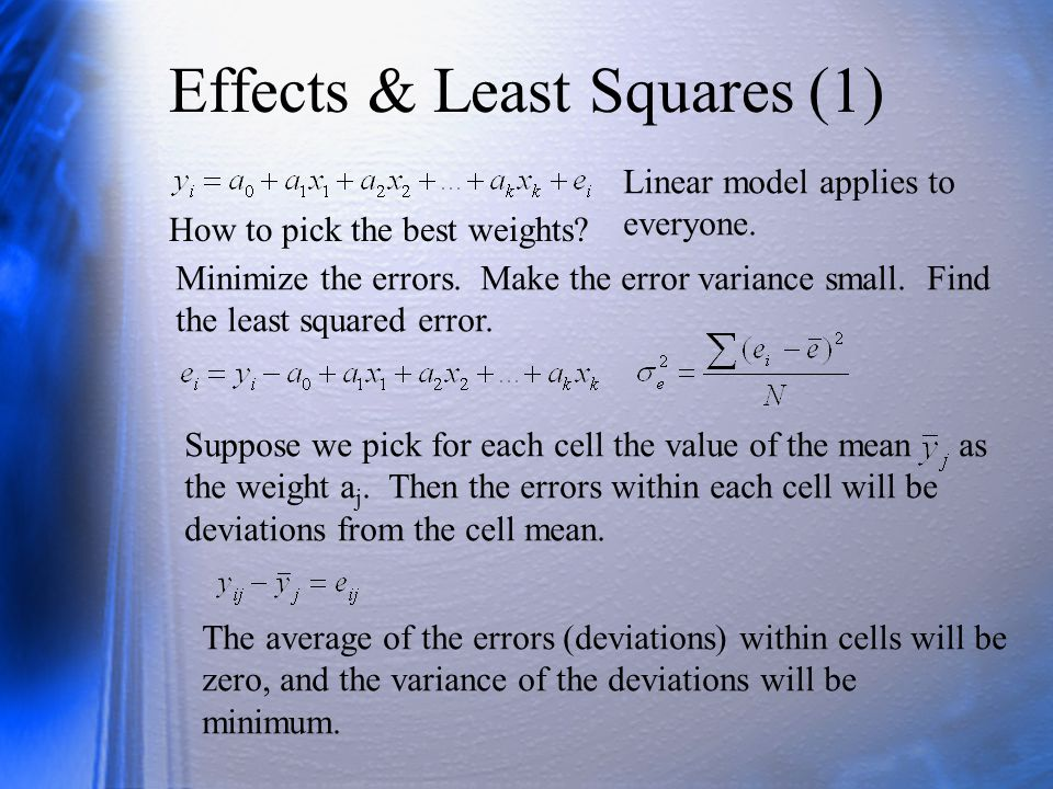 Effects & Least Squares (1) Linear model applies to everyone.