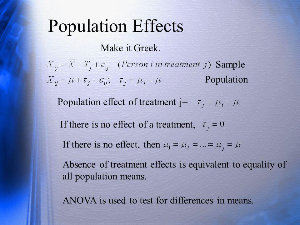 Population Effects Make it Greek.