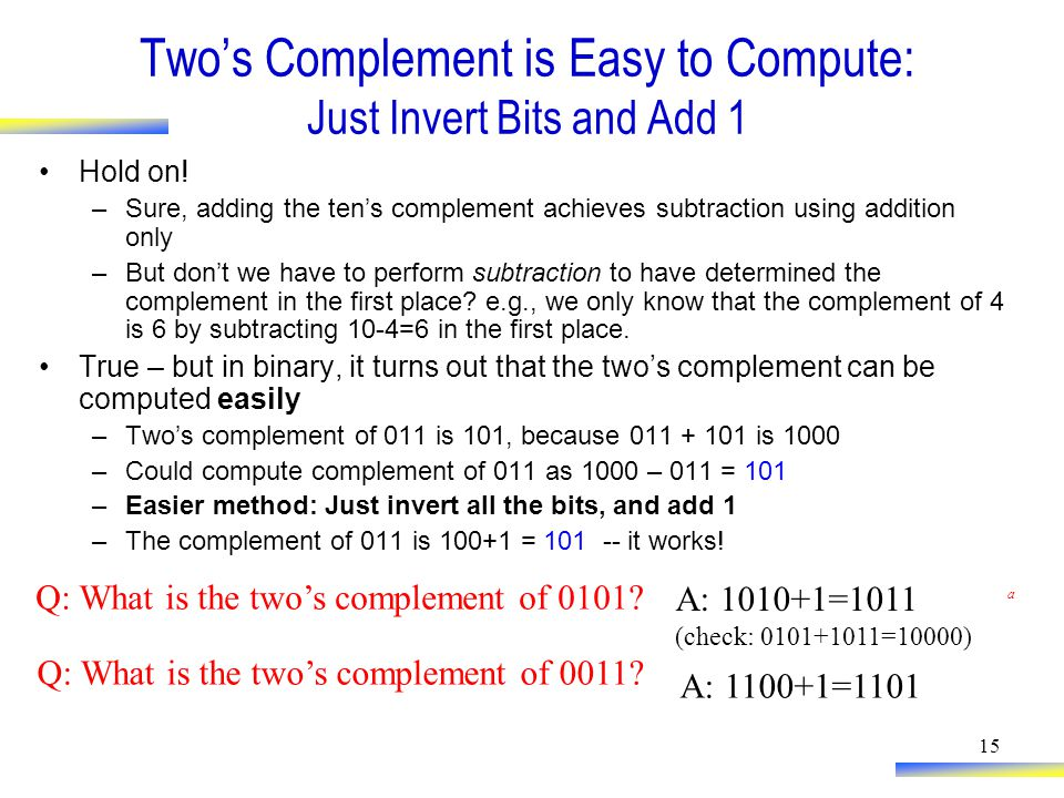 15 Two's Complement is Easy to Compute: Just Invert Bits and Add 1 Hold on.