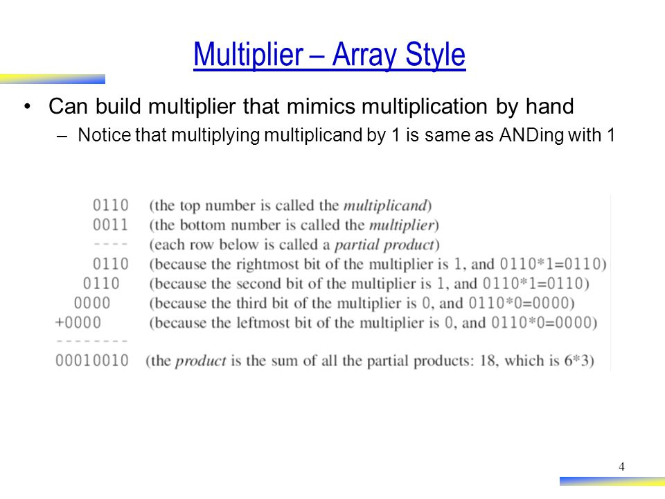 4 Multiplier – Array Style Can build multiplier that mimics multiplication by hand –Notice that multiplying multiplicand by 1 is same as ANDing with 1