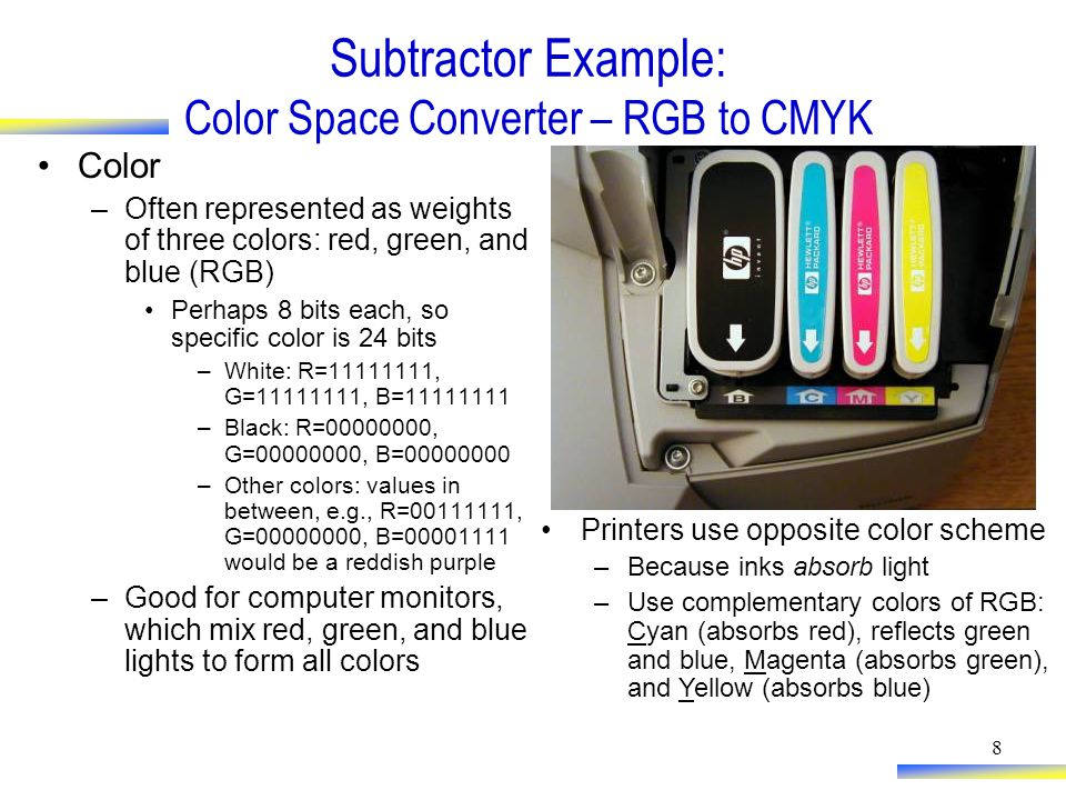 8 Subtractor Example: Color Space Converter – RGB to CMYK Color –Often represented as weights of three colors: red, green, and blue (RGB) Perhaps 8 bits each, so specific color is 24 bits –White: R=11111111, G=11111111, B=11111111 –Black: R=00000000, G=00000000, B=00000000 –Other colors: values in between, e.g., R=00111111, G=00000000, B=00001111 would be a reddish purple –Good for computer monitors, which mix red, green, and blue lights to form all colors Printers use opposite color scheme –Because inks absorb light –Use complementary colors of RGB: Cyan (absorbs red), reflects green and blue, Magenta (absorbs green), and Yellow (absorbs blue)