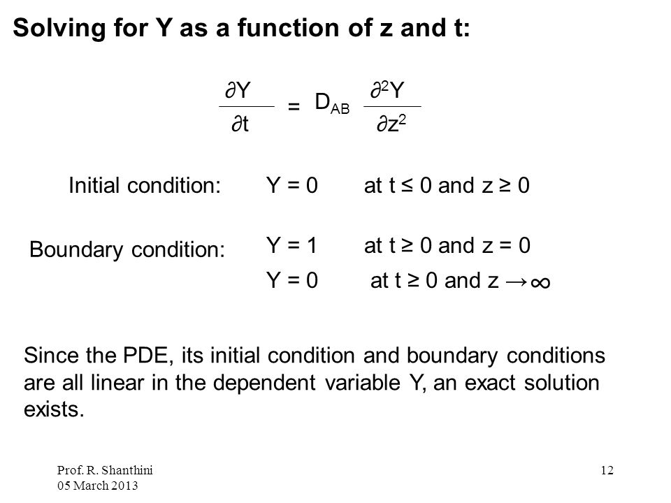 Prof. R. Shanthini 05 March 2013 12 Solving for Y as a function of z and t: Initial condition:Y = 0 at t ≤ 0 and z ≥ 0 Boundary condition: Y = 1 at t