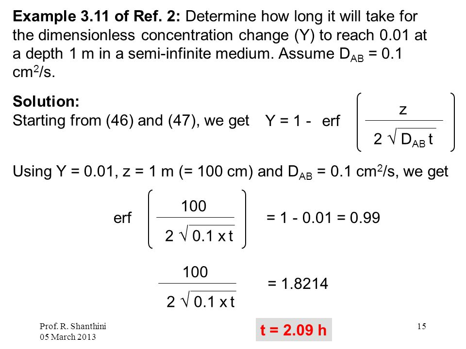 Prof. R. Shanthini 05 March 2013 15 Example 3.11 of Ref. 2: Determine how long it will take for the dimensionless concentration change (Y) to reach 0.
