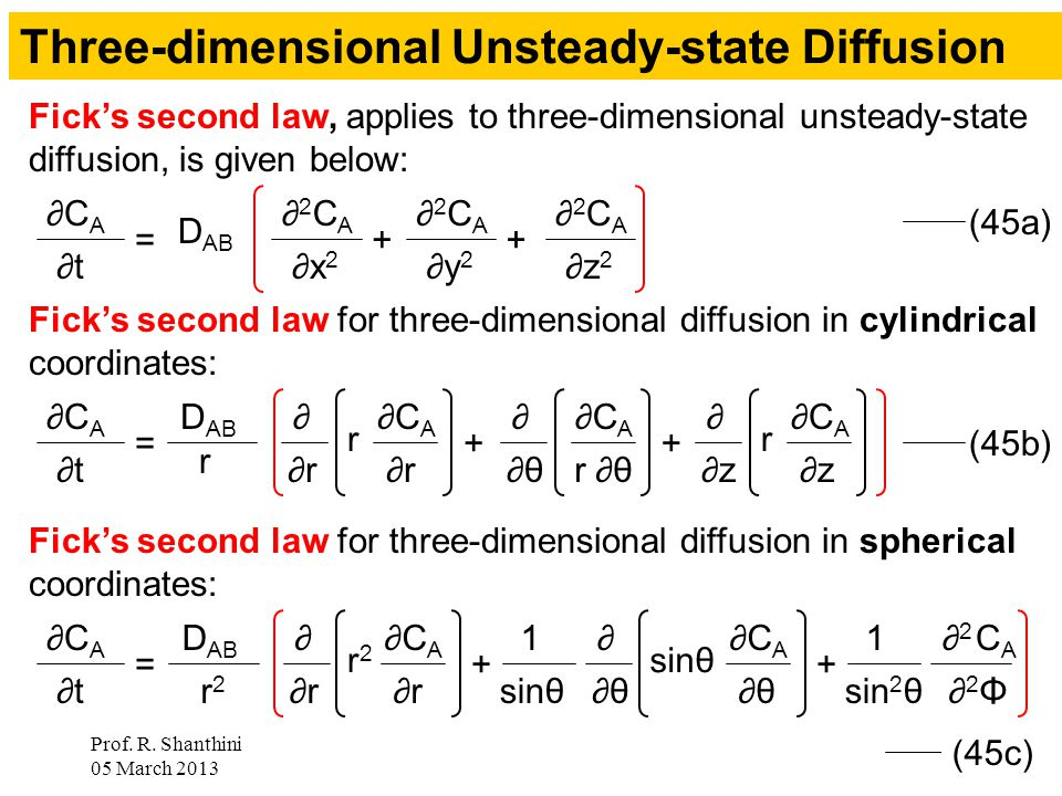 Prof. R. Shanthini 05 March 2013 8 = ∂2CA∂2CA ∂x 2 D AB Fick's second law, applies to three-dimensional unsteady-state diffusion, is given below: ∂CA∂