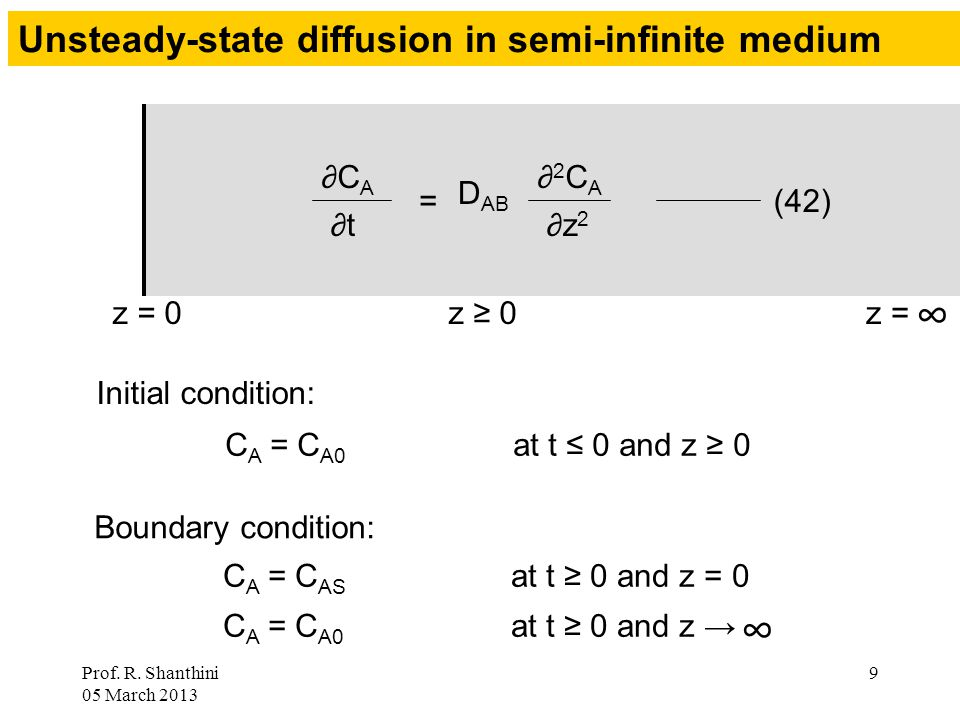 Prof. R. Shanthini 05 March 2013 9 Unsteady-state diffusion in semi-infinite medium z = 0z = ∞ = ∂2CA∂2CA ∂z 2 D AB (42) ∂CA∂CA ∂t z ≥ 0 Initial condi