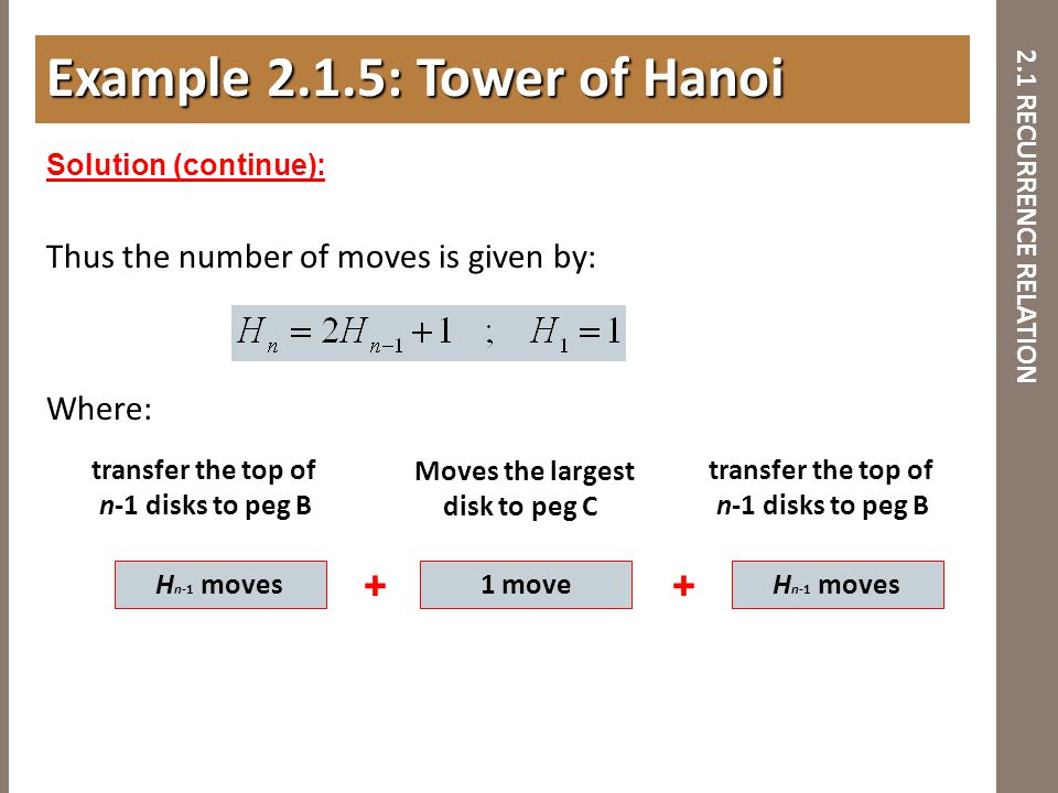 2.1 RECURRENCE RELATION Thus the number of moves is given by: Where: Example 2.1.5: Tower of Hanoi Solution (continue): H n-1 moves Moves the largest