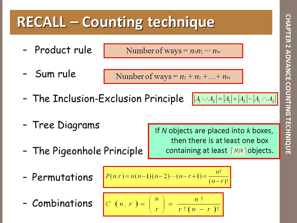 CHAPTER 2 ADVANCE COUNTING TECHNIQUE – Product rule – Sum rule –The Inclusion-Exclusion Principle –Tree Diagrams –The Pigeonhole Principle –Permutatio