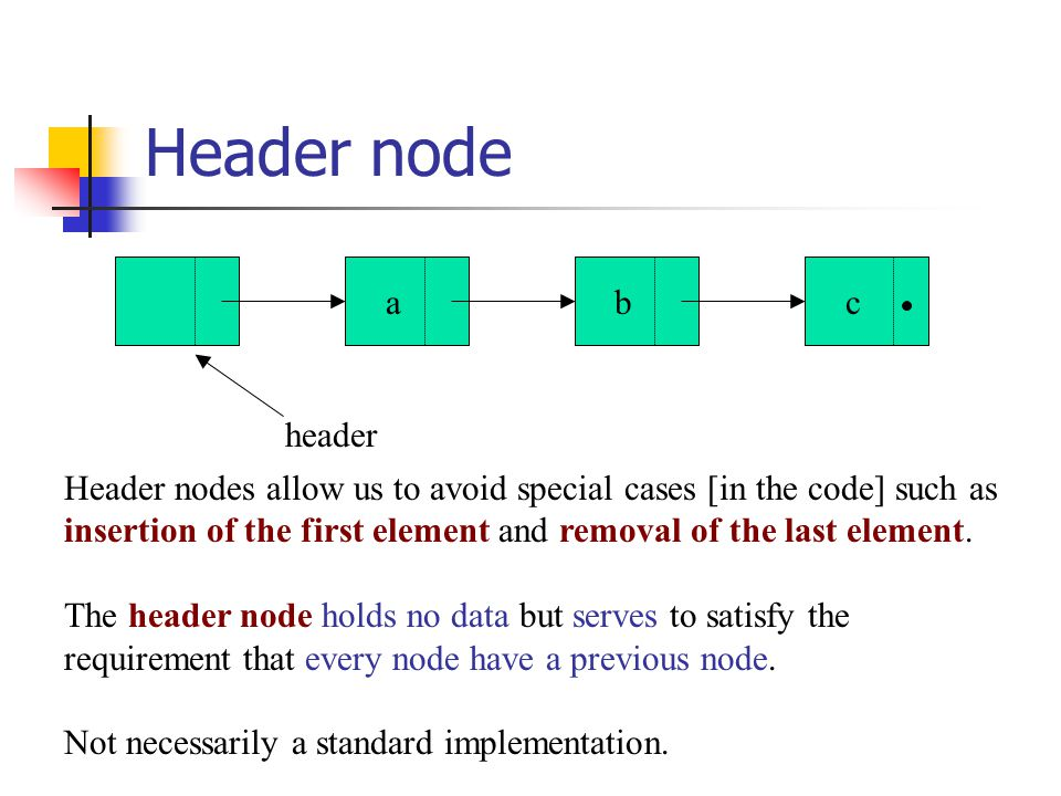abc header Header nodes allow us to avoid special cases [in the code] such as insertion of the first element and removal of the last element.