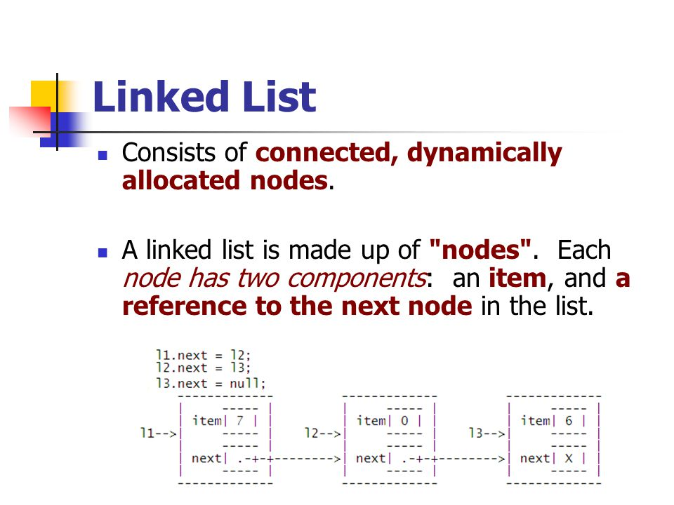 Linked List Consists of connected, dynamically allocated nodes.
