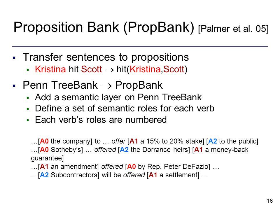 16 Proposition Bank (PropBank) [Palmer et al.