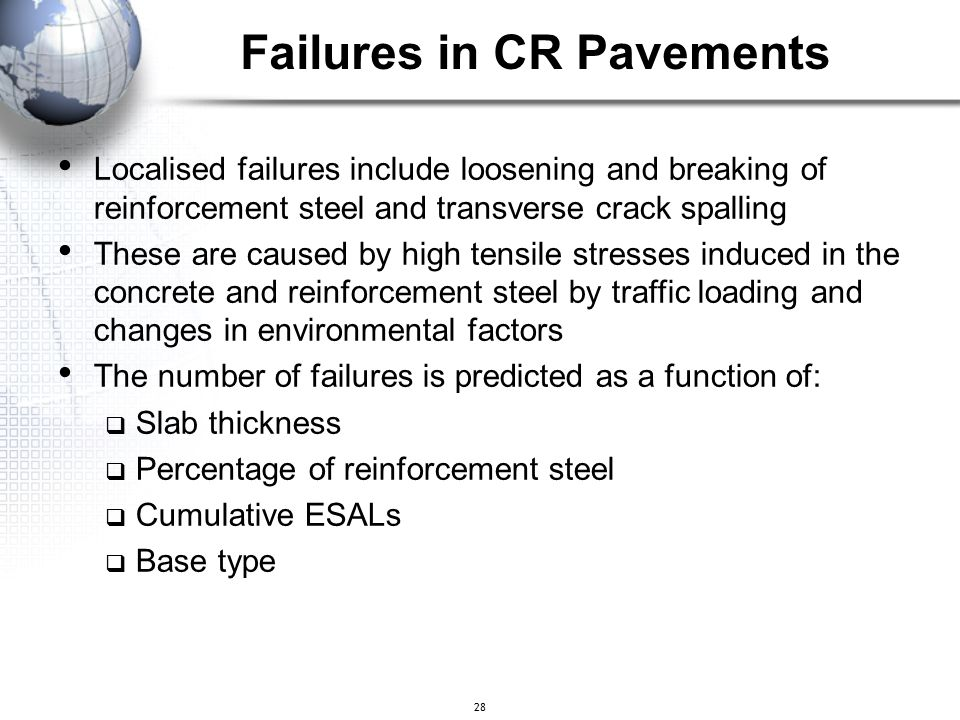 28 Localised failures include loosening and breaking of reinforcement steel and transverse crack spalling These are caused by high tensile stresses in
