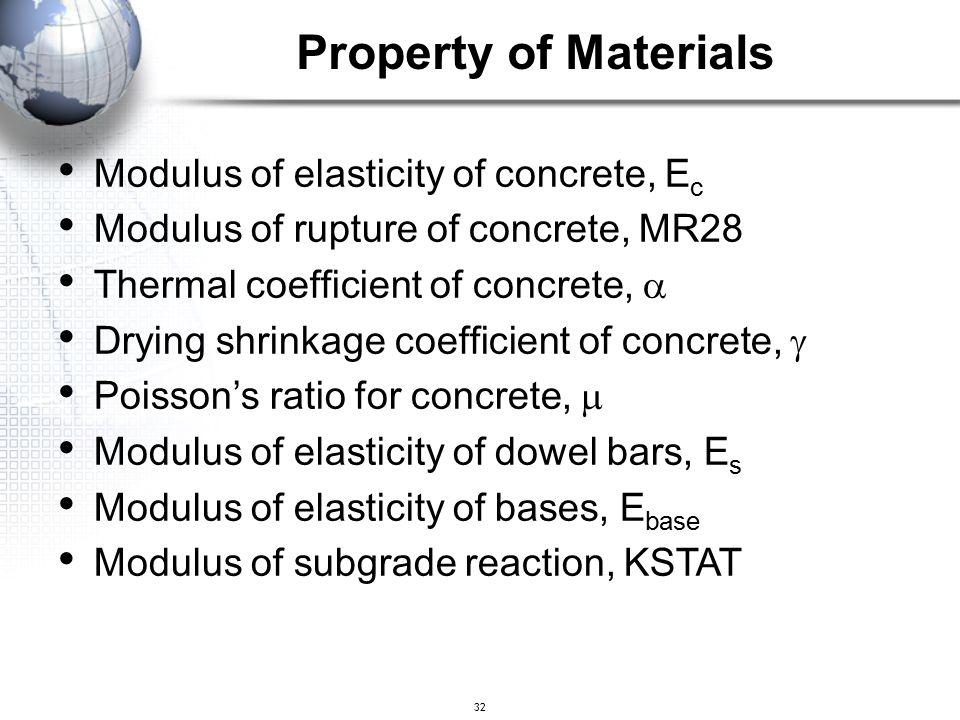 32 Modulus of elasticity of concrete, E c Modulus of rupture of concrete, MR28 Thermal coefficient of concrete,  Drying shrinkage coefficient of conc