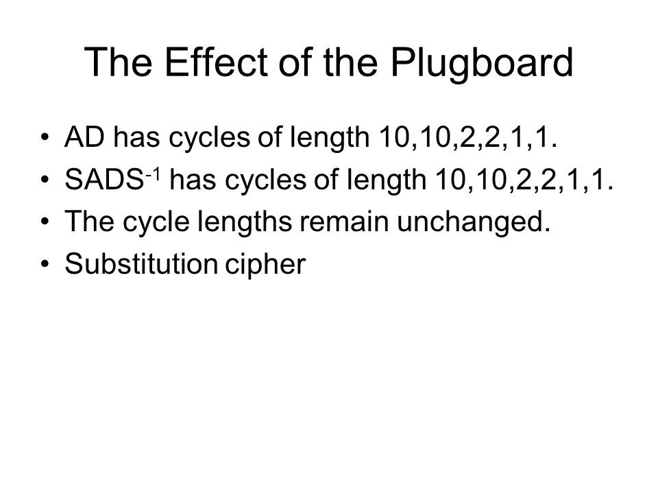The Effect of the Plugboard AD has cycles of length 10,10,2,2,1,1.