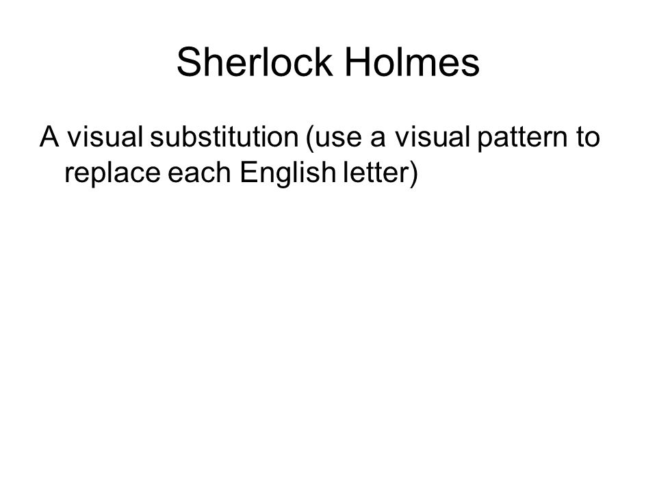 Sherlock Holmes A visual substitution (use a visual pattern to replace each English letter)