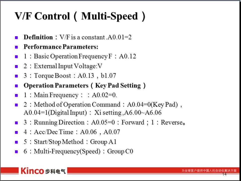 14 V/F Control ( Multi-Speed ) Definition : V/F is a constant.A0.01=2 Definition : V/F is a constant.A0.01=2 Performance Parameters: Performance Param