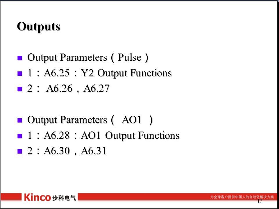 17 Outputs Output Parameters ( Pulse ) Output Parameters ( Pulse ) 1 : A6.25 : Y2 Output Functions 1 : A6.25 : Y2 Output Functions 2 : A6.26 , A6.27 2