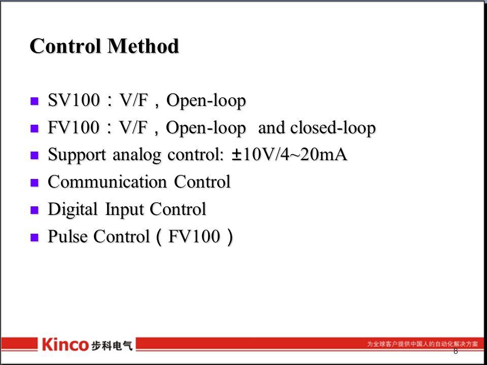 Control Method SV100 : V/F , Open-loop SV100 : V/F , Open-loop FV100 : V/F , Open-loop and closed-loop FV100 : V/F , Open-loop and closed-loop Support