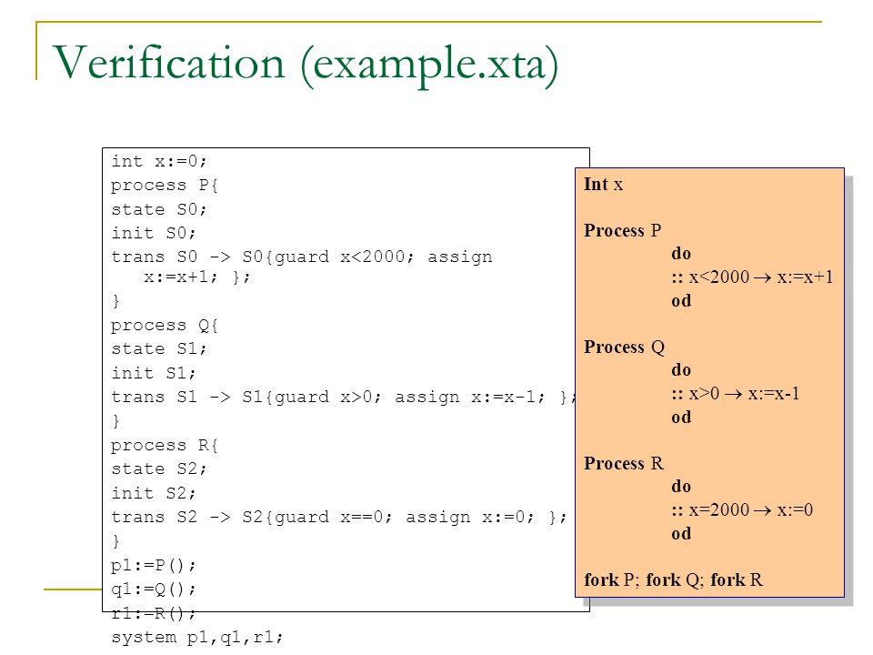 Verification (example.xta) int x:=0; process P{ state S0; init S0; trans S0 -> S0{guard x<2000; assign x:=x+1; }; } process Q{ state S1; init S1; tran