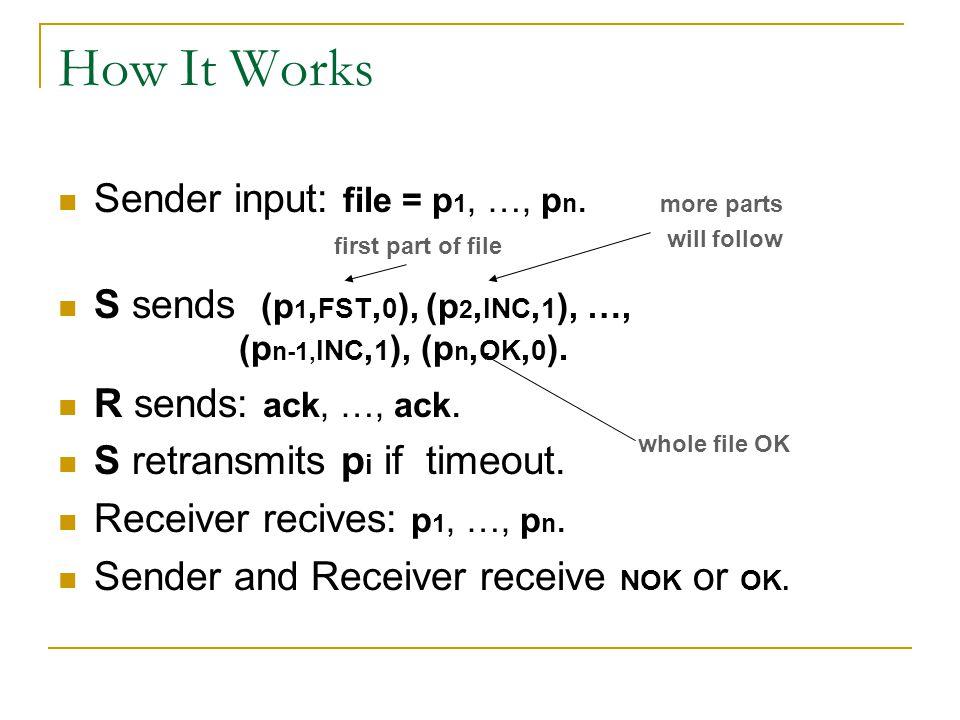 How It Works Sender input: file = p 1, …, p n. S sends (p 1, FST, 0 ), (p 2, INC, 1 ), …, (p n-1, INC, 1 ), (p n, OK, 0 ). R sends: ack, …, ack. S ret