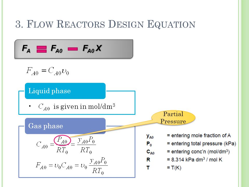 is given in mol/dm 3 Liquid phase Gas phase 3. F LOW R EACTORS D ESIGN E QUATION F A F A0 F A0 X F A F A0 F A0 X Partial Pressure