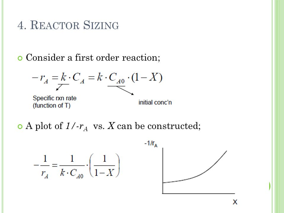 Consider a first order reaction; A plot of 1/-r A vs. X can be constructed; 17 4. R EACTOR S IZING