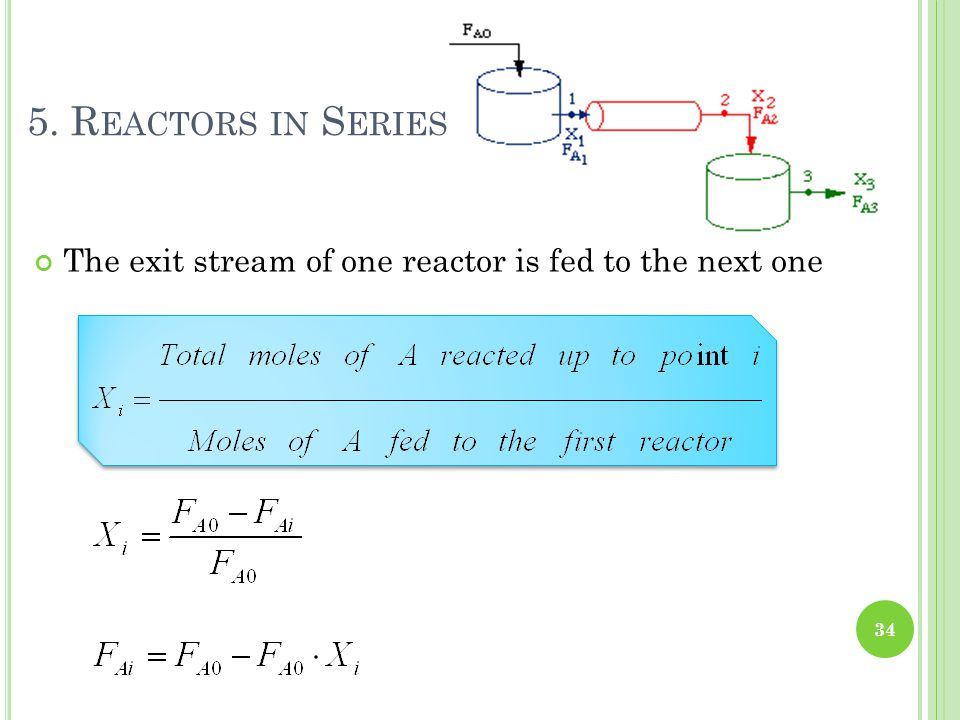 5. R EACTORS IN S ERIES The exit stream of one reactor is fed to the next one 34