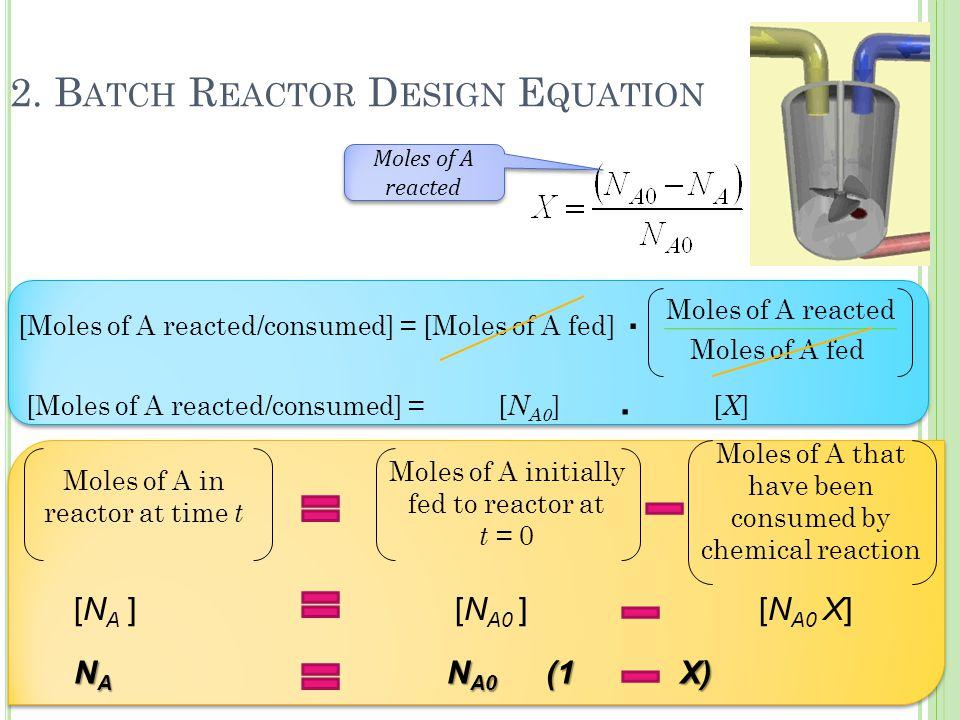2. B ATCH R EACTOR D ESIGN E QUATION [Moles of A reacted/consumed] = [Moles of A fed] Moles of A reacted Moles of A fed [Moles of A reacted/consumed]